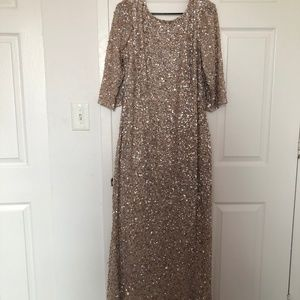 Adrianna Papell Long Sleeve Sequin Beaded Gown wit
